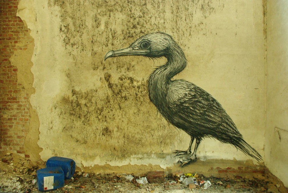 ROA - граффитист из Бельгии, рисующий на стенах огромных черно-белых животных.